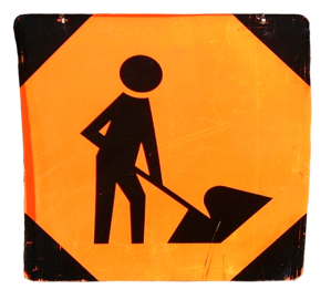 Construction sign - man at work