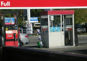 Gas station with pump.