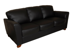 A black leather sofa on transparent background.