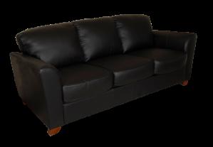 A black leather sofa on transparent background.