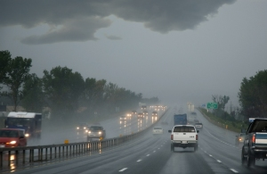 On the highway during a rainstorm.