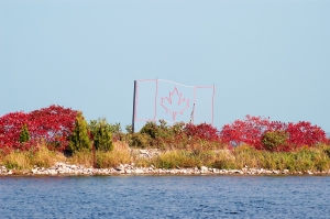 Landscaped Breakwall with Canadian Flag made of Iron.