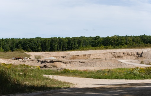 OpenGravelPit2 - a photo showing an alternate view of the open-mining gravel pit shown in the photo above.