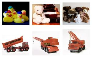 construction toys, teddy bears and rubber duckies