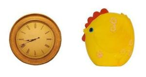 wall clock and rooster bank