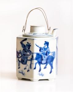 Blue and White Oriental Teapot