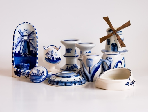 Colllection of Blue Delft Pieces.