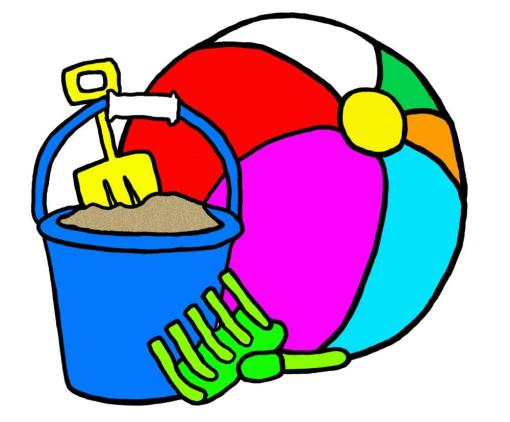 Hand drawn beach toys - pail, shovel, rake and beach ball.